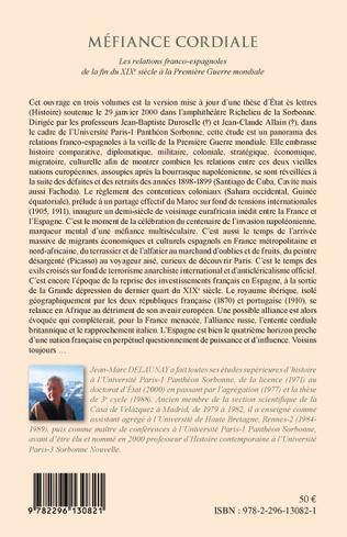 4eme Méfiance cordiale. Les relations franco-espagnoles de la fin du XIXe siècle à la Première Guerre mondiale (Volume 1)