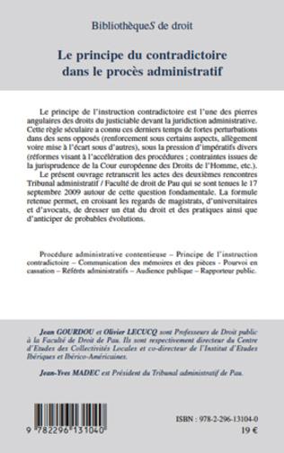4eme Le principe du contradictoire dans le procès administratif