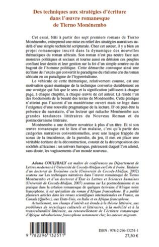 4eme Des techniques aux stratégies d'écriture dans l'oeuvre romanesque de Tierno Monémembo