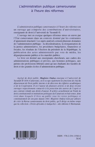 4eme L'administration publique camerounaise à l'heure des réformes