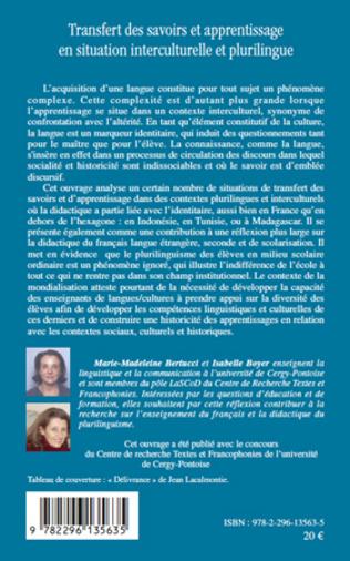 4eme Transfert des savoirs et apprentissage en situation interculturelle et plurilingue