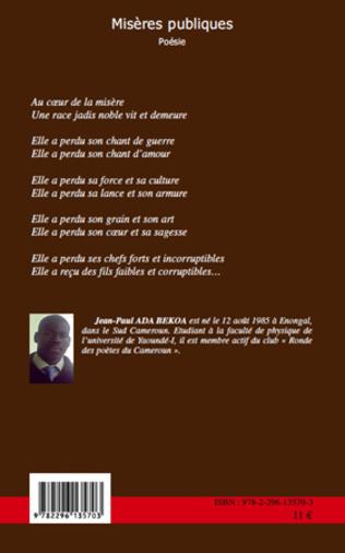 Misères Publiques Poésie Jean Paul Ada Bekoa Livre