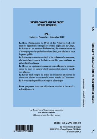 4eme Revue congolaise de droit et des affaires N° 4