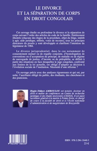 4eme Le divorce et la séparation de corps en droit congolais