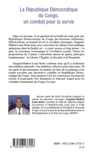 4eme La république Démocratique du Congo, un combat pour la survie