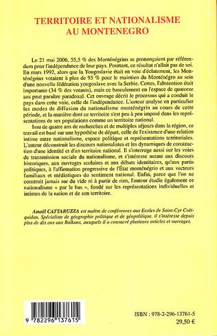 4eme Territoire et nationalisme au Monténégro