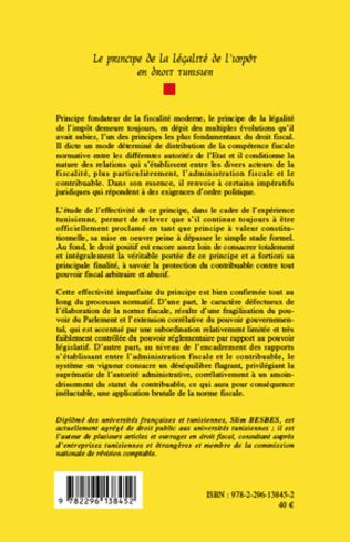 4eme Le principe de la légalité de l'impôt en droit tunisien