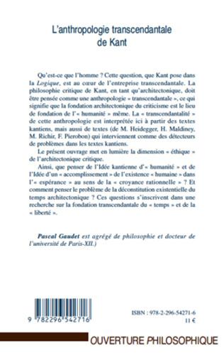 4eme L'anthropologie transcendantale de Kant
