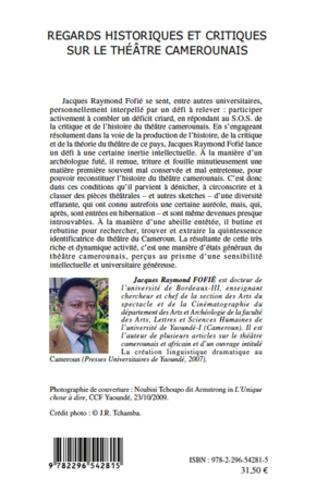4eme Regards historiques et critiques sur le théâtre camerounais