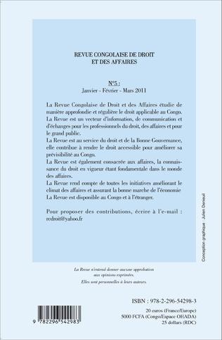 4eme Revue congolaise de droit des affaires N° 5