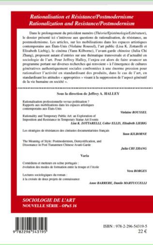 4eme Rationalisation et Résistance/ Postmodernisme