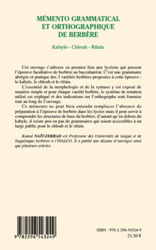 4eme Mémento grammatical et orthographique de berbère