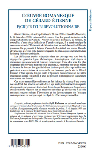 4eme L'oeuvre romanesque de Gérard Etienne