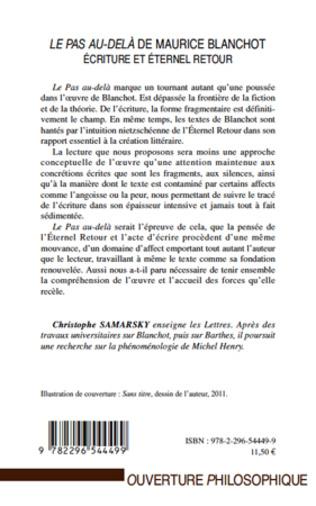 4eme LE PAS AU DELA DE MAURICE BLANCHOT ECRITURE ET ETERNEL RETOUR