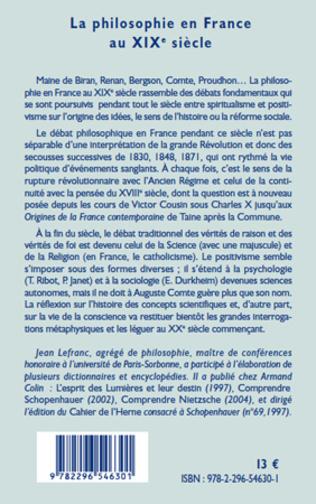 4eme La philosophie en France au XIXème siècle