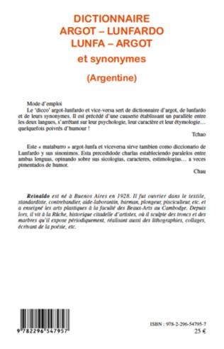 4eme Dictionnaire argot - lunfardo / lunfa - argot et synonymes (Argentine)