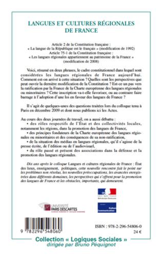 4eme Langues et cultures régionales de France