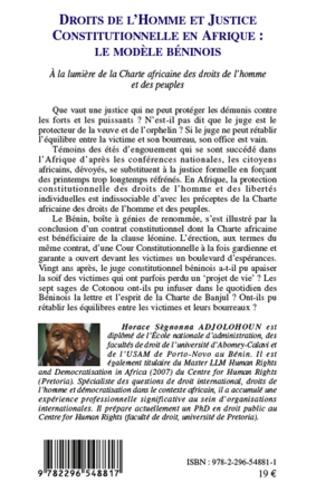 4eme Droits de l'homme et justice constitutionnelle en Afrique : le modèle béninois