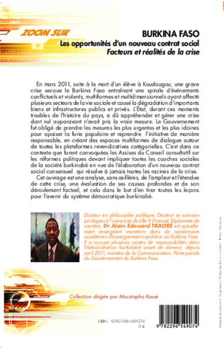 4eme Burkina Faso Les opportunités d'un nouveau contrat social