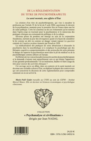 4eme De la règlementation du titre de psychothérapeute