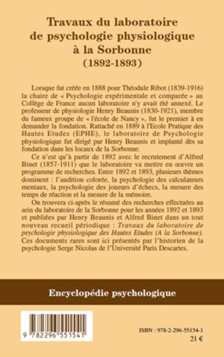 4eme Travaux du laboratoire de psychologie physiologique à la Sorbonne (1892-1893)