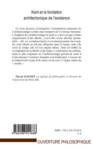 4eme Kant et la fondation architectonique de l'existence
