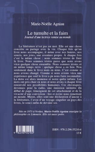 4eme LE TUMULTE ET LA FAIM JOURNAL D'UNE LECTRICE REMISE AU MONDE