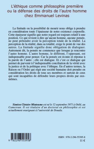 4eme L'éthique comme philosophie première ou la défense des droits de l'autre homme chez Emmanuel Levinas