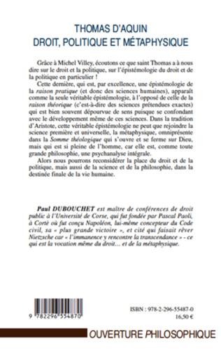 4eme Thomas d'Aquin : droit, politique et métaphysique