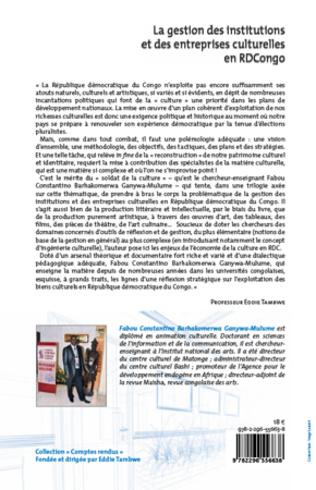 4eme La gestion des institutions et des entreprises culturelles en RDCongo (Tome 1)