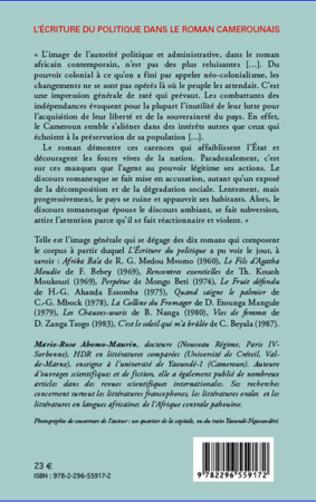 4eme L'écriture du politique dans le roman camerounais