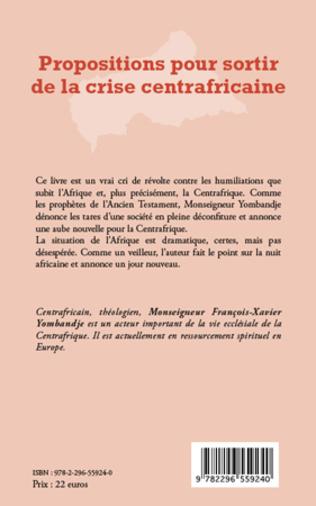 4eme Propositions pour sortir de la crise centrafricaine