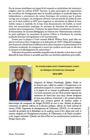 4eme Le syndicalisme dans l'enseignement public en Afrique Occidentale Française 1903-1960