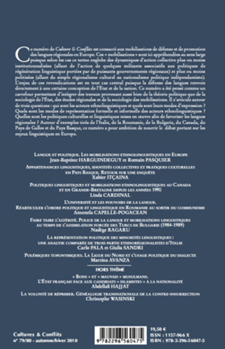 4eme Politiques linguistiques et mobilisations ethnolinguistiques au Canada et en Grande-Bretagne