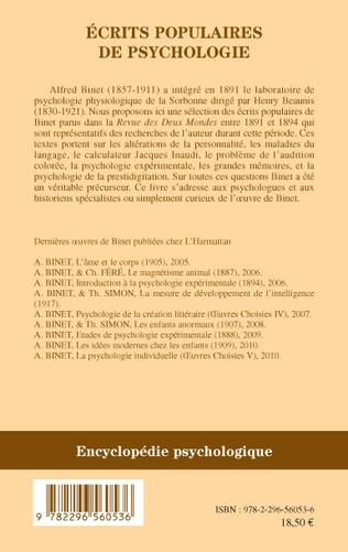 4eme Ecrits populaires de psychologie