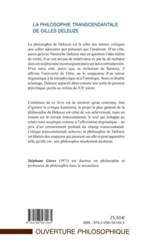 4eme La philosophie transcendantale de Gilles Deleuze