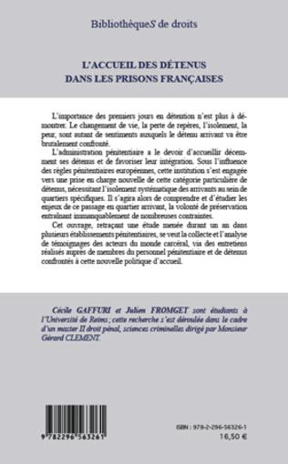 4eme L'accueil des détenus dans les prisons françaises