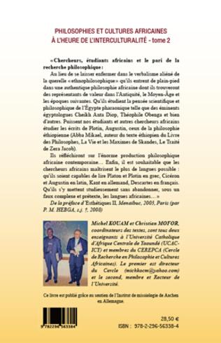 4eme Philosophies et cultures africaines à l'heure de l'interculturalité (Tome 2)