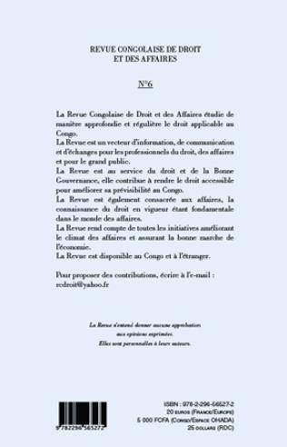 4eme Revue congolaise de droit et des affaires n° 6