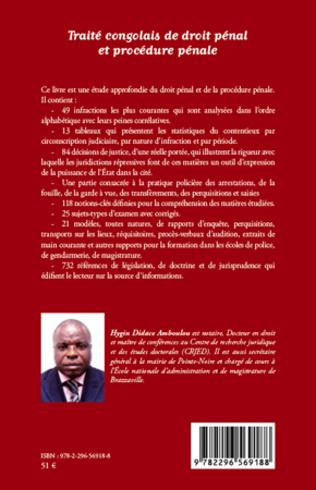 4eme Traité congolais de droit pénal et de procédure pénale