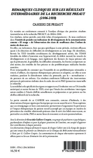 4eme Remarques cliniques sur les résultats intermédiaires de la recherche PREAUT (2006-2010)