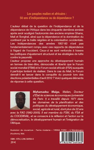 4eme Les peuples maliens et africains : 50 ans d'indépendance ou de dépendance ?