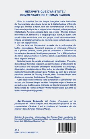 4eme Métaphysique d'Aristote/ Commentaire de Thomas d'Aquin (Tome 1)