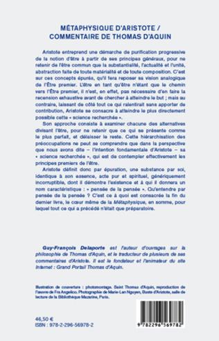 4eme Métaphysique d'Aristote/ Commentaire de Thomas d'Aquin (Tome II)