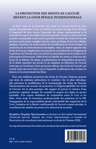 4eme La protection des droits de l'accusé devant la Cour Pénale Internationale