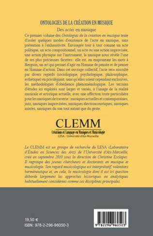 4eme Ontologies de la création en musique (Volume 1)
