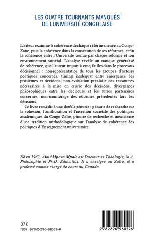 4eme Quatre tournants manqués de l'université congolaise
