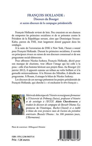 4eme François Hollande : discours du Bourget et autres discours de la campagne présidentielle