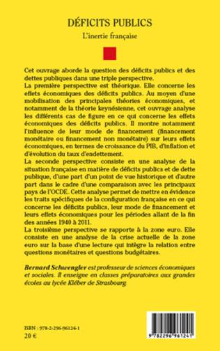 4eme Déficits publics. L'inertie française
