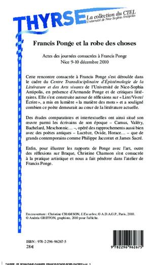 4eme Francis Ponge et la robe des choses